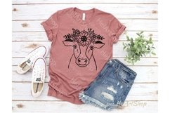 Cow With Crown SVG, Cow Flowers SVG, Cow face SVG Product Image 2