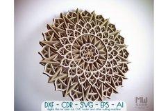 M102 - Flower Mandala DXF file, Multilayer Mandala SVG Product Image 1