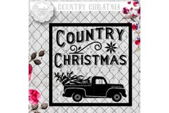 Vintage COUNTRY Christmas SVG File, Cutting File, Vector Clipart Holiday Decor, Silhouette Cutting file design Available in Svg,Dxf,Eps,Png Product Image 2