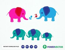 Elephant SVG Files. Elephant Family Vector Clipart Svg, Dxf, Eps, Png Files Product Image 1
