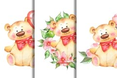Watercolor Teddy cards png Product Image 2