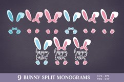 Easter Bunny Ears Split Monogram svg png eps Product Image 2