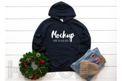 Gildan 18500 Mockup Christmas Navy Hoodie Mockup Winter Mock Product Image 1