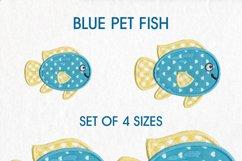 Blue Yellow Fish Applique 4 Sizes Set Product Image 1