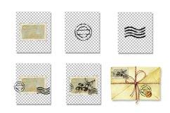 Postage stamp, postmark, watercolor clipart, envelope design Product Image 3