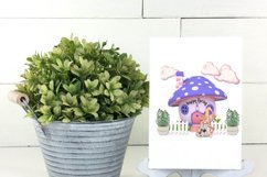 Spring Garden Gnome Colorful Mushroom Homes PNG Designs Product Image 4