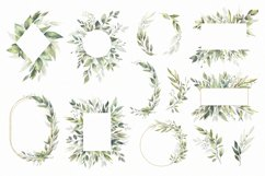 Watercolor Greenery Wreath Clipart. Product Image 4