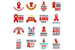 World AIDS day logo set, flat style Product Image 1