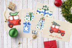 Watercolor Christmas Cars Clipart Product Image 2