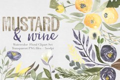 Mustard & wine Floral Clipart Set Product Image 1