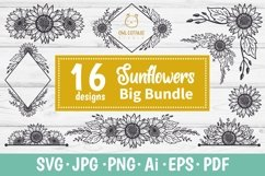 SUNFLOWERS BIG BUNDLE SVG, Floral borders and monograms Product Image 1