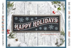 Happy Holidays - long vintage rustic Christmas sign SVG file Product Image 2