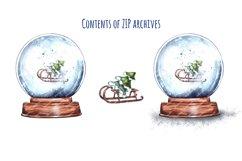 Christmas,Snow Globe,Christmas tree,Sublimation,Watercolor Product Image 2