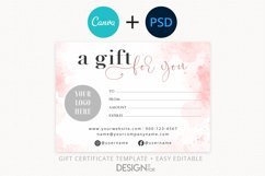 Pink Gift Certificate Template, Editable Gift Certificate Product Image 1