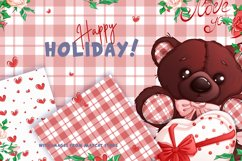 Teddy bear on Valentine's Day. Clipart and patterns. Product Image 4