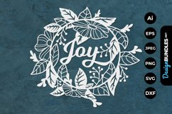 Joy with Floral Frame for Papercut Product Image 1