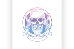 Sketch, skull with beard and mustaches Product Image 1