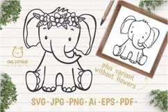 Little Elephant with Flowers Crown Svg , Baby Elephant Cut F Product Image 1