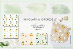 Kumquat & white orchids. Watercolors clipart collection. Product Image 3