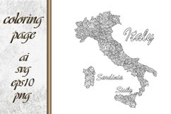 Italy map Coloring page book Product Image 1