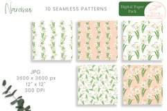 Narcissus Paper Pack. Watercolor Floral Seamless Patterns Product Image 2