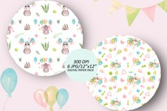 Baby animals birthday seamless pattern. African friends set Product Image 3