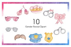 Baby Clipart-Gender Reveal Clipart-Object Clipart-Watercolor Clipart-Badge Clipart-Bows Clipart-Crown Clipart-Police Clipart-Pregnancy- Baby Product Image 2