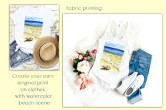 Sublimation Design Watercolor Beach Scene & seashell PNG/JPG Product Image 3