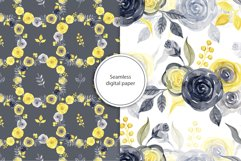 Watercolor yellow & gray roses Product Image 5