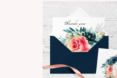 Wreath clipart Watercolor Coral Navy Flowers Frame invite Product Image 6