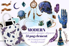 Magic, Occult, Witchcraft, Spiritual watercolor clipart set. Product Image 1