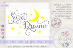 Sweet Dreams with Moon and Stars SVG Cut File LL021D Product Image 1
