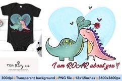 Cute Dinosaur Couple PNG, Valentine Bundle Product Image 1