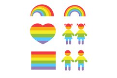 Gay pride rainbow heart and colors shapes vector set Product Image 1