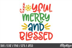 Christmas, SVG, Joyful Merry And Blessed, PNG, DXF, Cut File Product Image 1