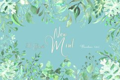 Watercolor Greenery Clipart in Neo Mint, Botanical Elements Product Image 4