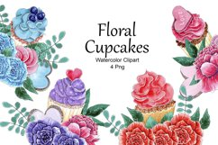 Cupcake Composition Watercolor Clipart, Floral Cupcakes Png Product Image 1