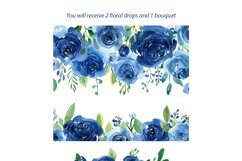 Blue Watercolor Roses Flowers Leaves Product Image 2