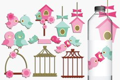 Love birds, birdcage, birdhouse clip art illustrations Product Image 1