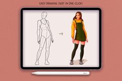 20 Realistic Female Body Poses Stamps for Procreate Product Image 2
