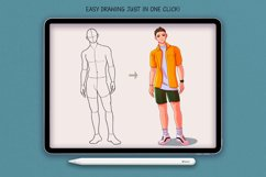 20 Realistic Male Body Poses Stamps for Procreate Product Image 2