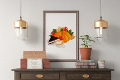 Autumn composition with pumpkin, leaves, coffee, cake Product Image 4