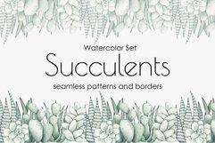 "Watercolor Pattern Set ""Succulents"" Product Image 1"
