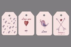 Watercolor set, patterns and tags for Valentine's Day. Product Image 4
