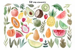 Watercolor Fruits. Patterns, Clipart Product Image 2