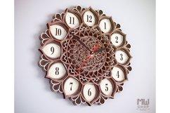 C06 - Mandala Flower Clock, Layered Clock DXF, Clock SVG Product Image 6