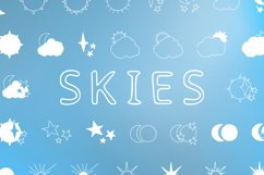 Skies - sun, moon and stars magic doodle font Product Image 1