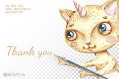Watercolor Cat Mermaid clipart. Seashells marine clip art. Product Image 8