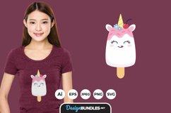 Cute Unicorn Ice Cream for T-Shirt Design Product Image 1