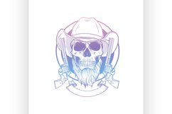 Sketch skull with cowboy hat Product Image 1